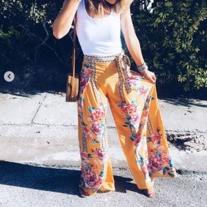 Yellow floral pants